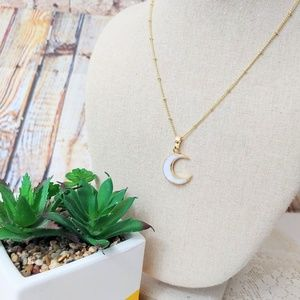 """Crescent Moon Natural White Shell Gold Plated 16"""""""